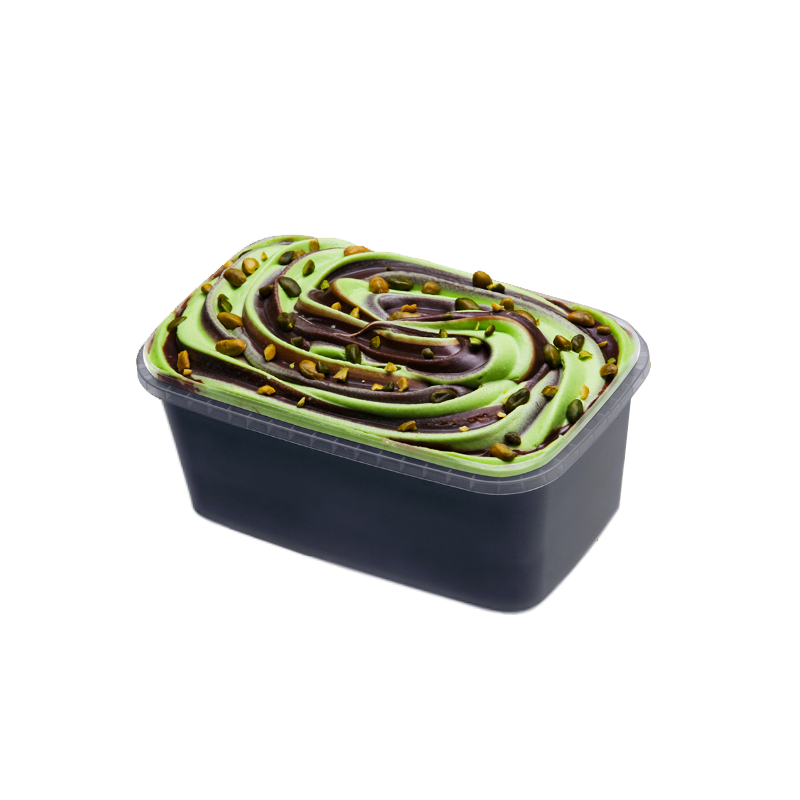 """""""Ekselence"""" 10% creamy pistachio ice cream with chocolate filling, almonds and pistachios"""