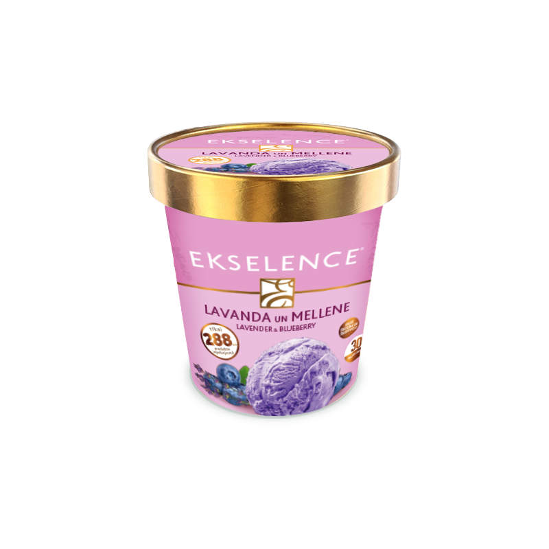 """Ekselence"" blueberry and lavender ice cream with blueberry sauce. With sugar and sweeteners"