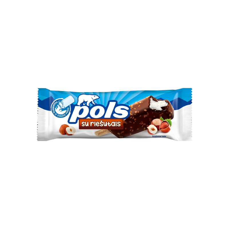 POLS Vanilla ice cream in coating with hazelnuts.